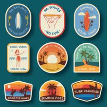 Set Of Nine Beach Badges. Hand...