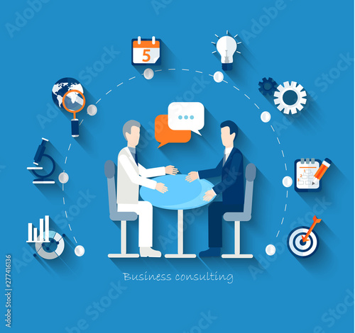 Businessmen conduct negotiations at a table. Men makes a deal. Flat design vector concepts for business, finance, strategic management, investment, natural resources, consulting, teamwork, great idea.