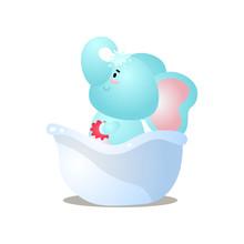 Funny Kid Blue Elephant Is Take A Shower In Bathtub