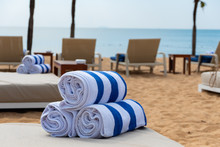 Towel Roll On Chair At Beach