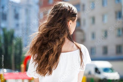 Fotografie, Obraz Female brunette hair, rear view, summer park