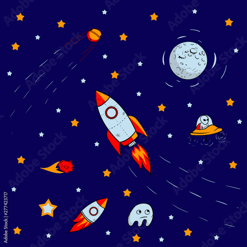 Foto op Canvas Kosmos seamless pattern for journey to space with sketch stars, rocket, comets, planets and ufo, vector