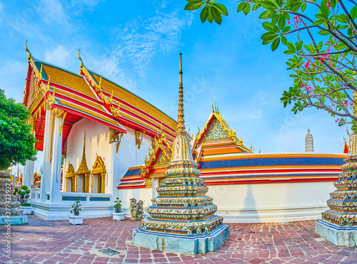 Panorama of Wat Pho complex, Bangkok, Thailand Wallpaper Mural