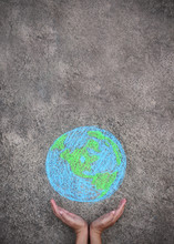 Closeup Hands Holding Earth Draw With Chalk. World Harmony Green Peace Environment Earth Day Together Concept.
