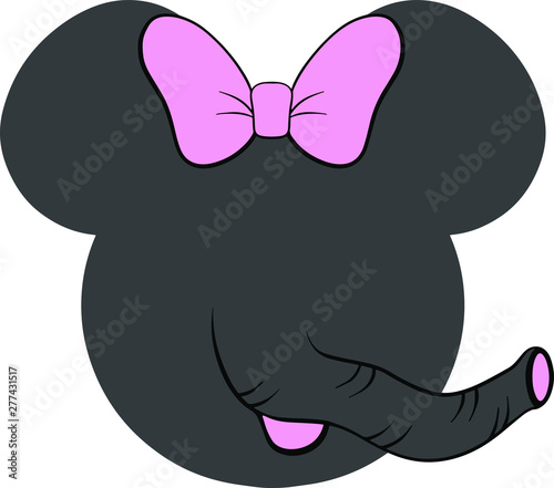 Photo Minnie elephant with pink bow decoration for T-shirt