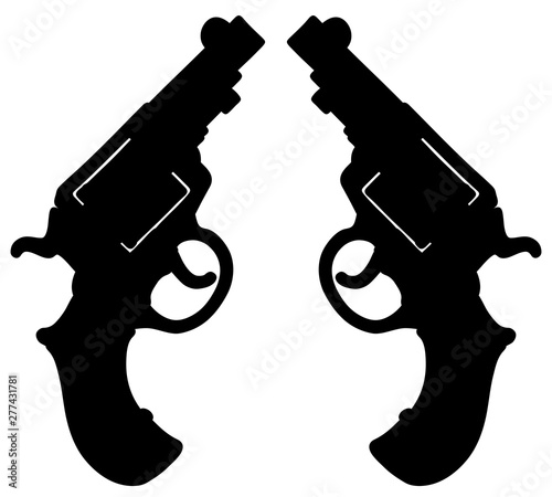Fotografía The hand drawing of a black silhouette of two short revolvers