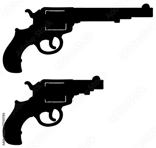 Cuadros en Lienzo The hand drawing of a black silhouette of classic long and short revolvers