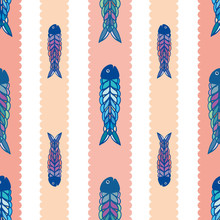 Hand Drawn Multicolor Fish In Geometric Folk Art Style. Seamless Vector Pattern On White Background With Scalloped Coral Stripes. Great For Beach, Kitchen, Cafe Products, Stationery, Packaging, Fabric