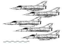 Dassault Mirage 3. Outline Vector Drawing