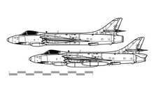 Hawker Hunter. Outline Vector Drawing