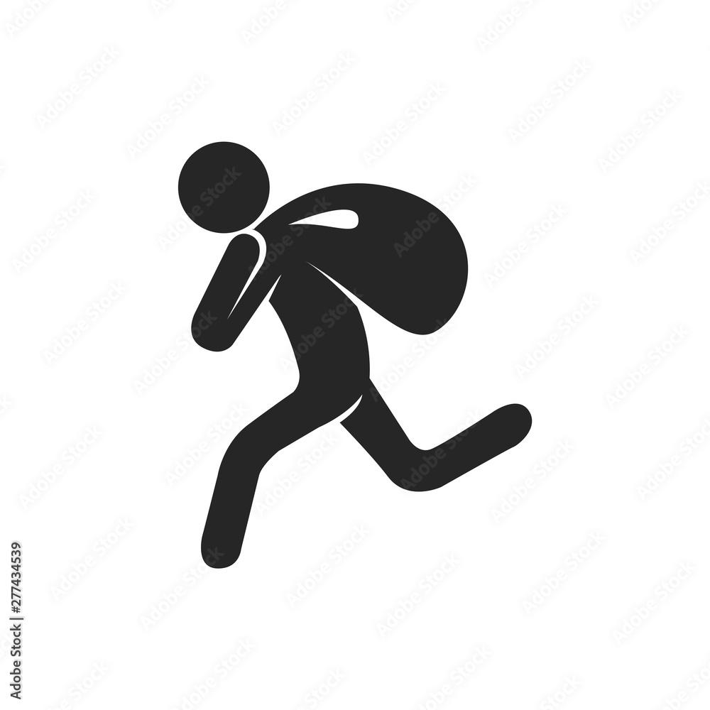 Fototapeta Burglar icon in black and white. Vector illustration.
