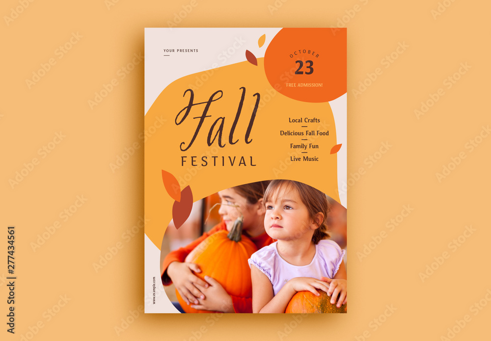 Fototapety, obrazy: Fall Festival Flyer Layout with Image Placeholder