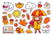 Autumn Set, Hand Drawn Elements. Cute Girl With Umbrella, Leaves, White Cat, Cloud, Coffee And Open Book. Illustration For Stickers. Vector Illustration.
