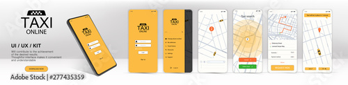 Valokuva Call a taxi online, mobile application