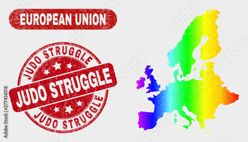 Rainbow colored dot European Union map and seals  Red round