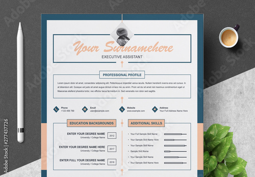 Resume and Cover Letter Layout with Blue and Salmon Accents ...