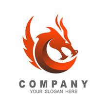 Dragon Head Vector Logo, Drago...