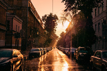 Parked Cars In Midtown Of Summer City Voronezh, Summer Rain And Sunset Sun In Old European City