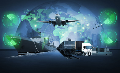 The world logistics , there are world map with logistic network distribution on background and Logistics Industrial Container Cargo freight ship for Concept of fast or instant shipping