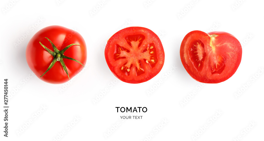 Fototapety, obrazy: Creative layout made of tomato on the white background. Flat lay. Food concept. Tomato on the white background.