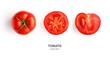 Leinwanddruck Bild - Creative layout made of tomato on the white background. Flat lay. Food concept. Tomato on the white background.