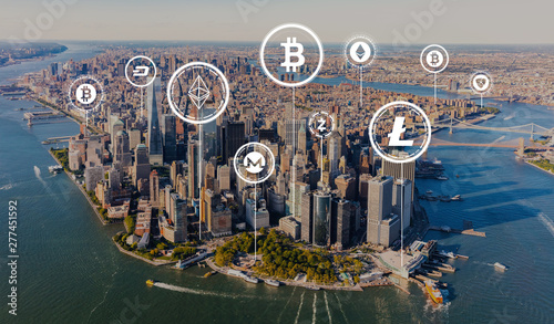 Photo Stands New York Cryptocurrency theme with aerial view of Manhattan, NY skyline