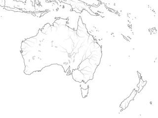 World Map of AUSTRALIA CONTINENT: Australia, New Zealand, Oceania, Micronesia, Melanesia, Polynesia, Pacific Ocean. Geographic chart with coastline, archipelago, coral reefs & seas, isles & islands.