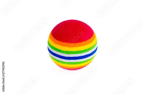 Bright colored little balls toys isolated on white background Fototapeta
