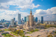 Leinwanddruck Bild - Aerial photo of  Warsaw city skyline