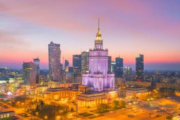 Panel Szklany Warszawa Aerial photo of Warsaw city skyline