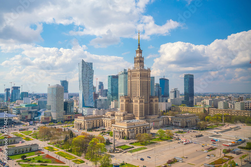 Canvastavla Aerial photo of  Warsaw city skyline