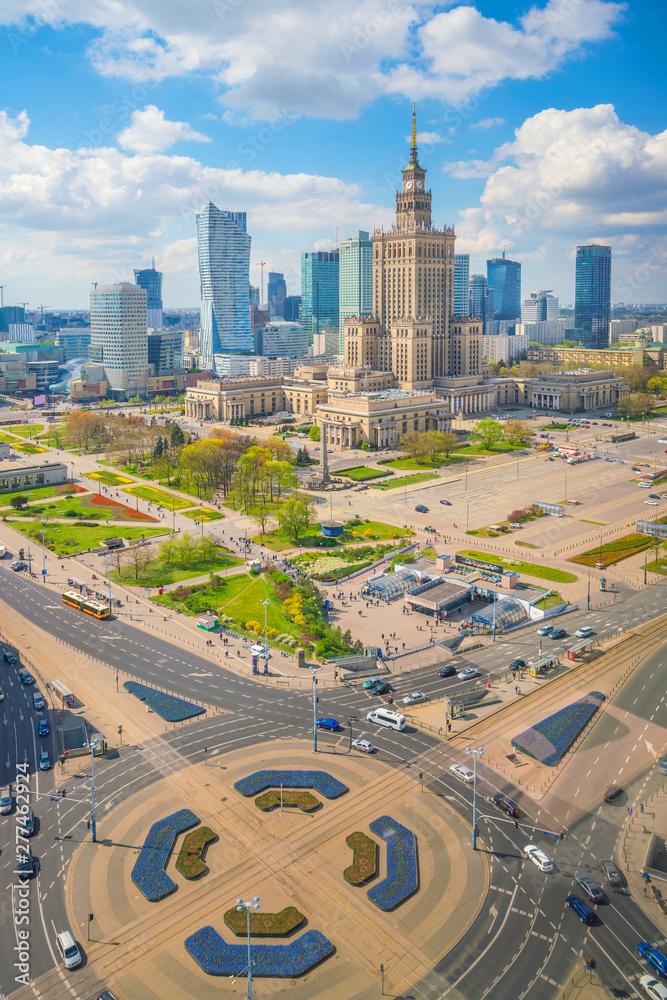 Fototapety, obrazy: Zdjęcie lotnicze z panoramą miasta Warszawy