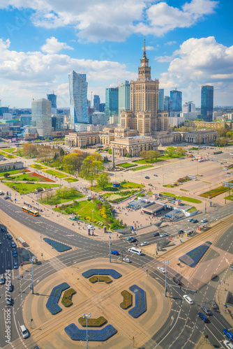 Obraz Aerial photo of  Warsaw city skyline in Poland - fototapety do salonu