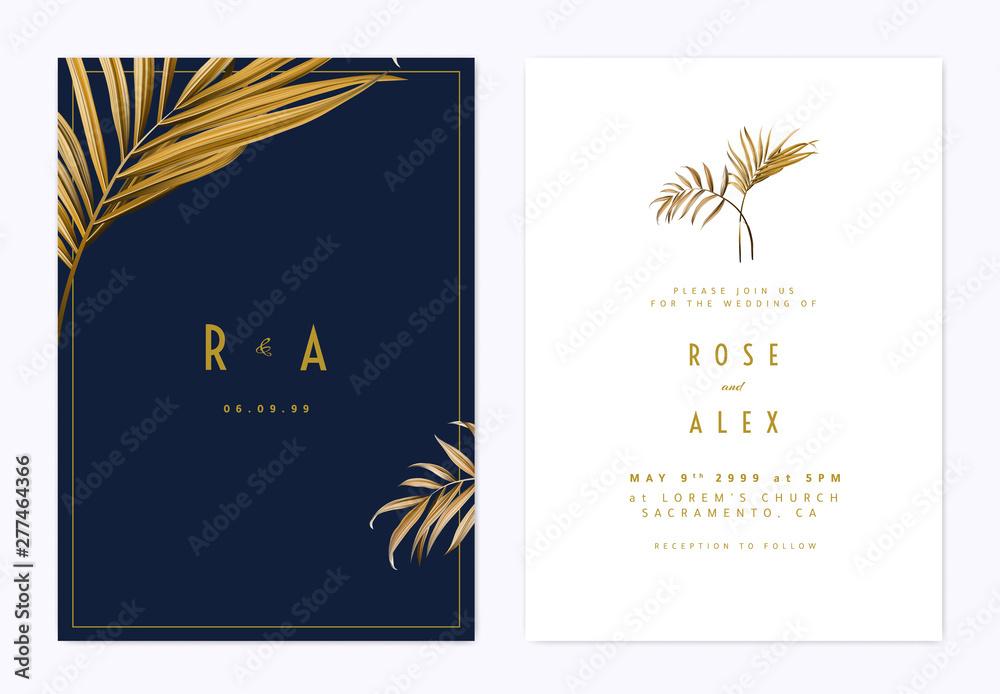 Fototapeta Minimalist botanical wedding invitation card template design, golden bamboo palm leaves, golden and dark blue theme