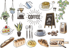 Coffee And Bakery Set. Hand Drawn Vector Illustration.