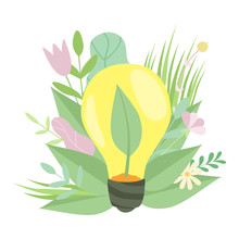 Eco Energy, Light Bulb With Plant Growing Inside, Green Grass And Flowers, Environmental Protection, Ecology Concept Vector Illustration