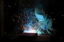 Electric Welder Brews Steel At The Factory.