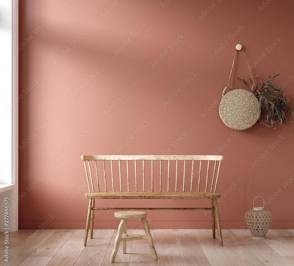 Fototapety, obrazy: Mock-up wall in living room background, 3d render