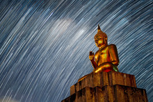 Big Buddha Statue Star Night Milky Way