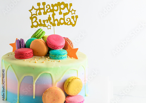 Pleasing Colourful Fresh Macaroons On Pastel Cake With Happy Birthday Tag Personalised Birthday Cards Paralily Jamesorg