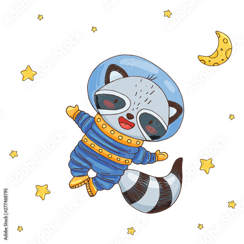 Photo Illustration with cute raccoon cartoon astronaut in space
