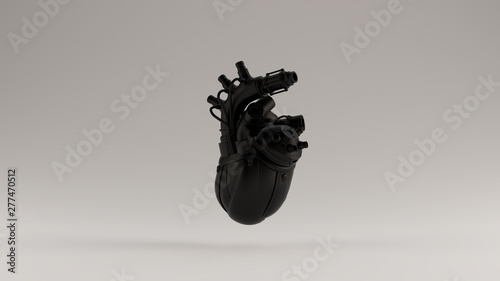 Fototapeta  Black Artificial Cyborg Heart 3d illustration 3d render