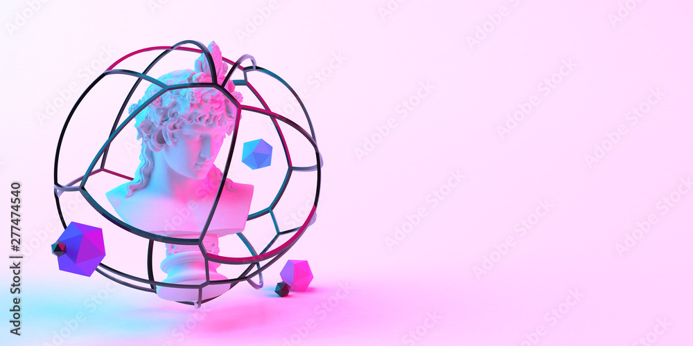 Fototapety, obrazy: 3d-illustration of an abstract composition of sculpture and primitive objects on light background