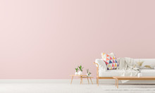 Scandinavian Style Interior With Sofa And Coffe Table. Empty Wall Mock Up In Minimalist Interior With Pastel Colors. 3D Illustration.