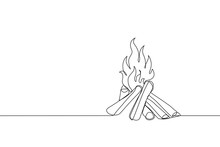 Bonfire In One Line Art Drawing Style. Campfire Black Line Sketch On White Background. Vector Illustration