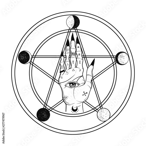 Witch hand on pentagram with moon phases Canvas Print