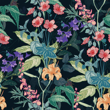 Seamless Hand Drawn Vintage Pattern With Detailed Flowers And Herbs On Dark Background. Colored Graphic Decoration For Paper, Textile, Wrapping Decoration, Scrap-booking, T-shirt, Cards.