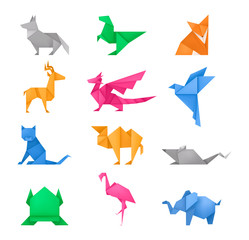 Origami animals different paper toys set vector