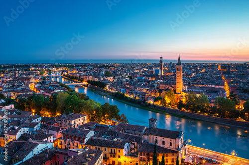 Poster Berlin Beautiful sunset aerial view of Verona. Veneto region in italy. Verona sunset cityscape.