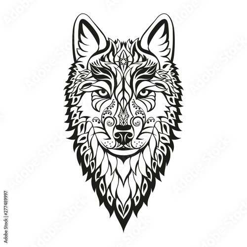 Modern Abstract Character Wolf Head Black Drawing On White